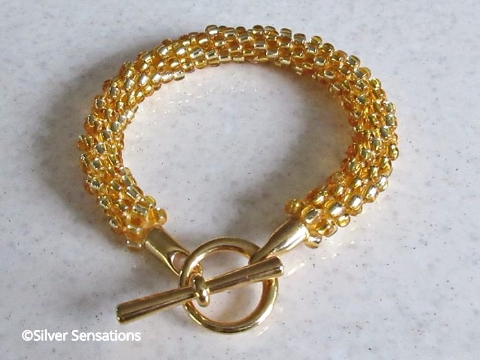 Golden Stripe Kumihimo Seed Bead Fashion Bracelet
